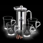 Custom French Coffee Press & 4 Giovanni Mugs