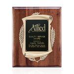 Custom Piano Finish Plaq - Walnut w/Ant Bronze Frame