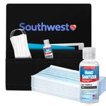 Airplane Pockets, 2 oz Hand Sanitizer and 10pc Face Mask Combo Kit