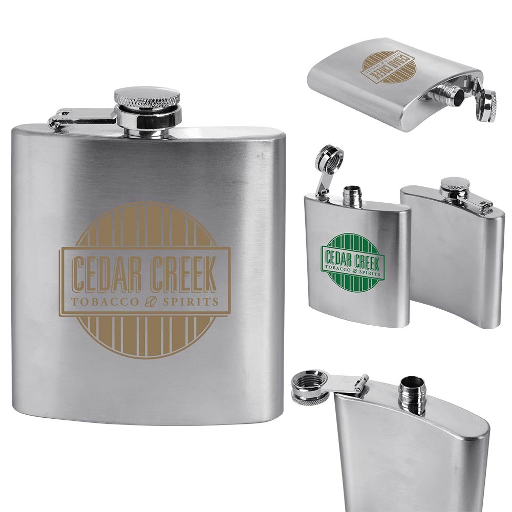 6 Oz. Stainless Steel Flask (Direct Import - 10 Weeks Ocean)