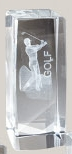 "Male Golf Stock Sports Crystal Award (4.5""x2"")"