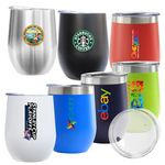 Custom Madison 12oz Double Wall Stainless Steel Vacuum Insulated Wine Cup (Cyan)