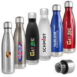Custom Atlantis 17 Oz. Double Wall Vacuum Insulated Stainless Steel Bottle (Silver)