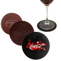 Atlantis Bonded Leather Round Coaster (Burgundy)