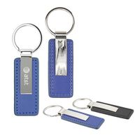 Oceanside Leather Key Chain - Blue