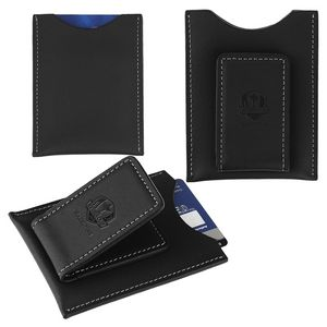 Concord Leather Magnetic Money Clip Card Case (Black)