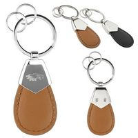 Aqua PU Leather Key Chain - Tan