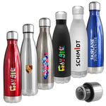 Custom Atlantis 17 Oz. Double Wall Vacuum Insulated Stainless Steel Bottle (Red)