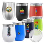 Custom Madison 12oz Double Wall Stainless Steel Vacuum Insulated Wine Cup (Navy Blue)