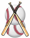 Baseballs & Bats Promotional Magnet w/ Strip Magnet (4 Square Inch)
