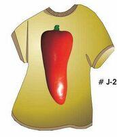 Red Chili Pepper T Shirt Acrylic Coaster w/ Felt Back