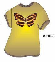 Brown & Yellow Butterfly T Shirt Acrylic Coaster w/ Felt Back