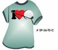 I Love Golf T-Shirt Acrylic Coaster w/ Felt Back
