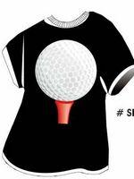 Tee Golf Ball & Tee T-Shirt Acrylic Coaster w/ Felt Back