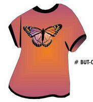 Purple & Pink Butterfly T Shirt Acrylic Coaster w/ Felt Back