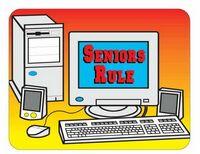 Seniors Rule Computer Acrylic Coaster w/ Felt Back