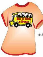 School Bus w/ Slogan T Shirt Acrylic Coaster w/ Felt Back
