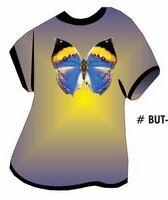 Black & Blue Butterfly T Shirt Acrylic Coaster w/ Felt Back