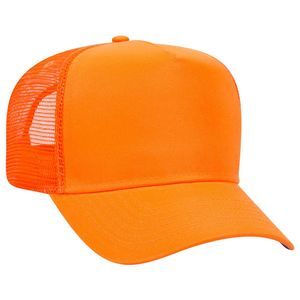 OTTO Neon Polyester Twill 5 Panel Pro Style Mesh Back Trucker Hat