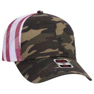 OTTO American Flag Mesh Back Cotton Twill 6 Panel Low Profile Baseball Cap