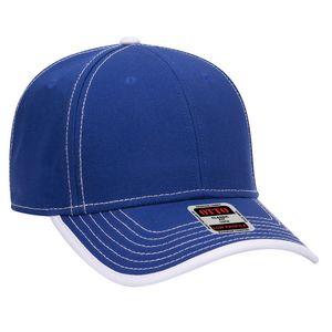 Custom OTTO Superior Cotton Twill w/ Contrast Stitching Binding Trim Visor 6 Panel Low Profile Baseball Cap