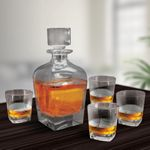 5 PC Brandy And Whiskey Decanter Set