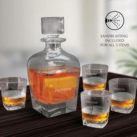 5 Piece Brandy & Whiskey Decanter Set