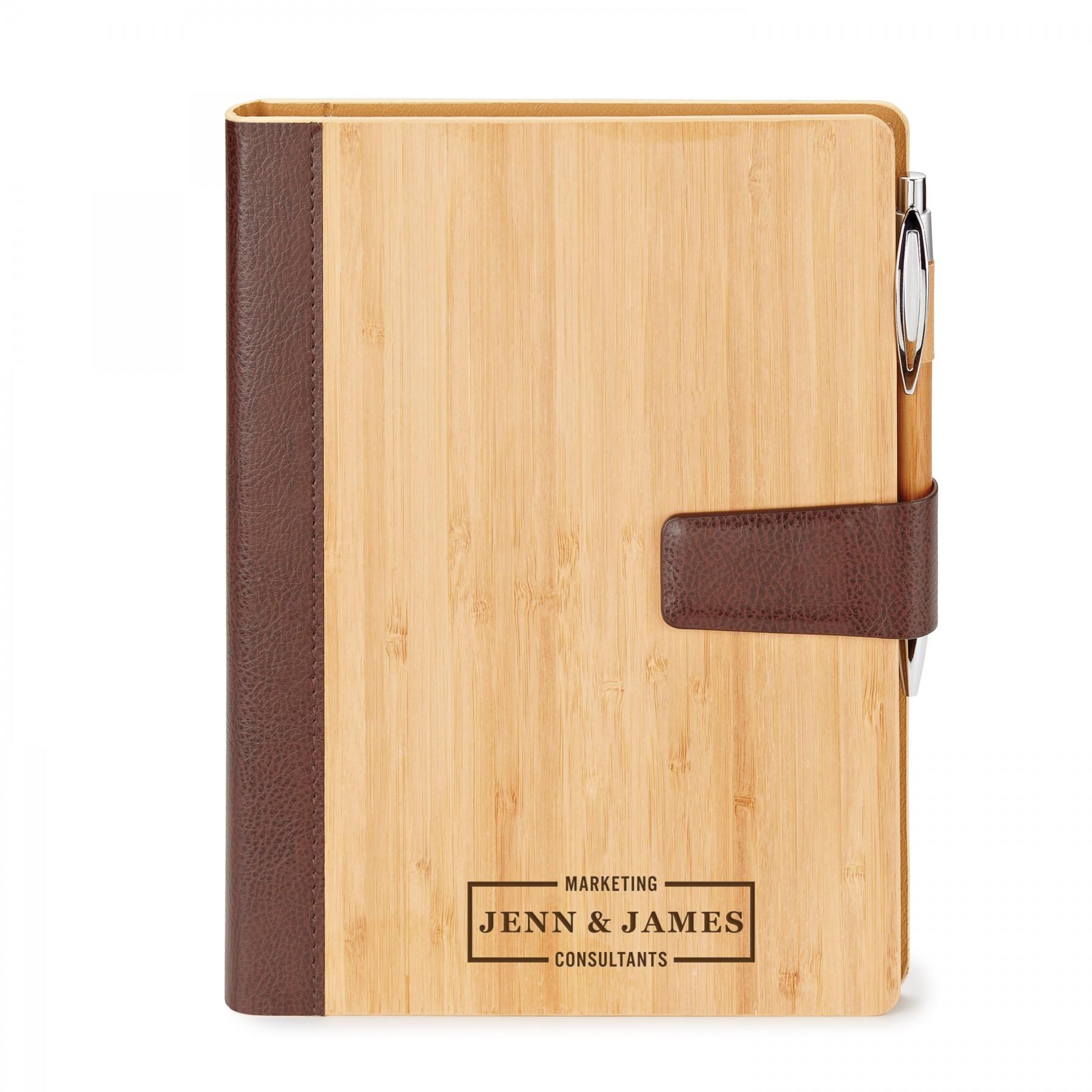 Bamboo Refillable Journal, EC3069, Laser Engraved