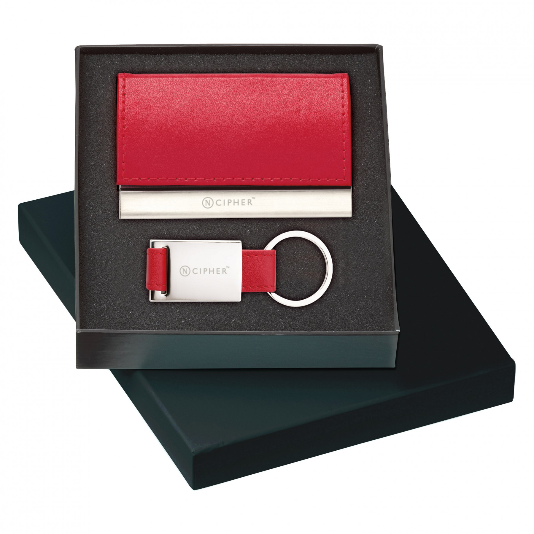 Leather Card Case & Key Ring Gift Set - Laser Engraved (G621)