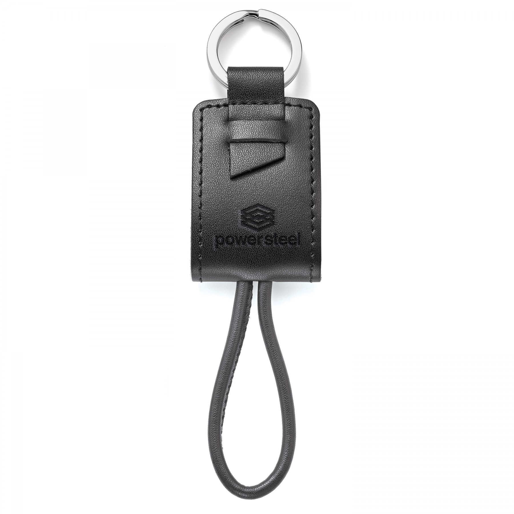 Genuine Leather Key Ring/Charging Kit, T997, Debossed Logo