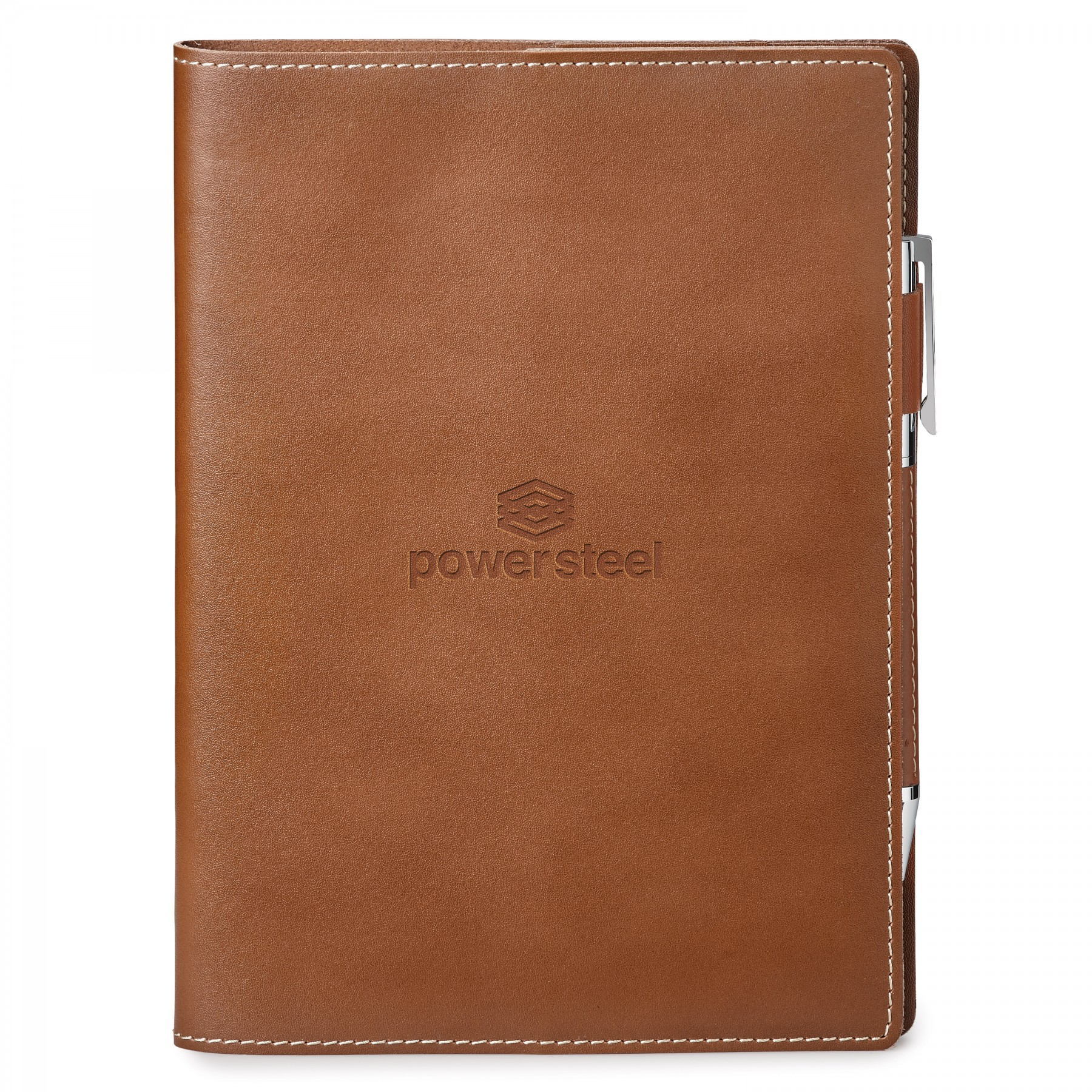 Nathan Genuine Leather Refillable Journal, ST4680, Debossed Logo