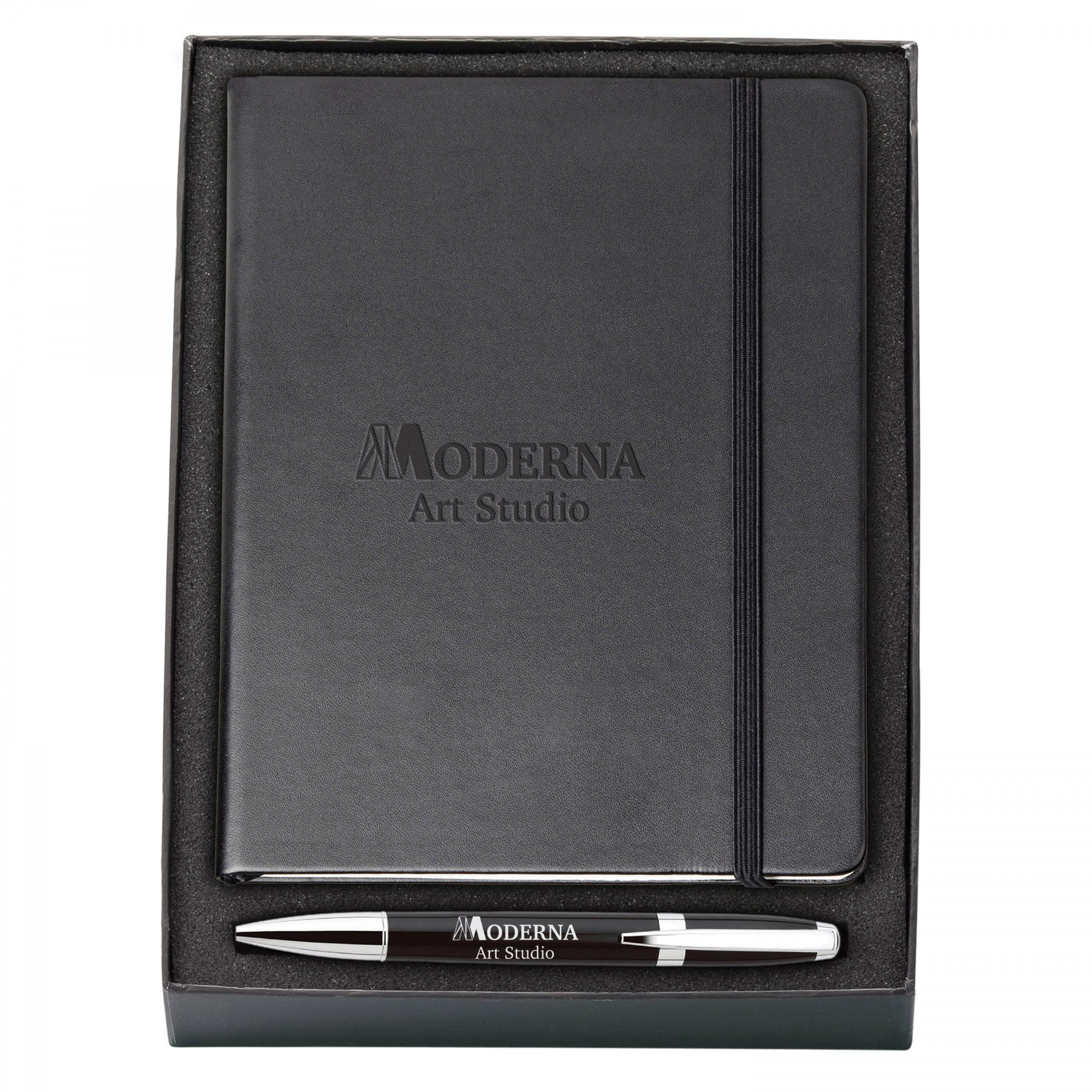 MELODY 2-TONE & NEOSKIN; PEN & JOURNAL GIFT SET, G6827, Debossed Logo