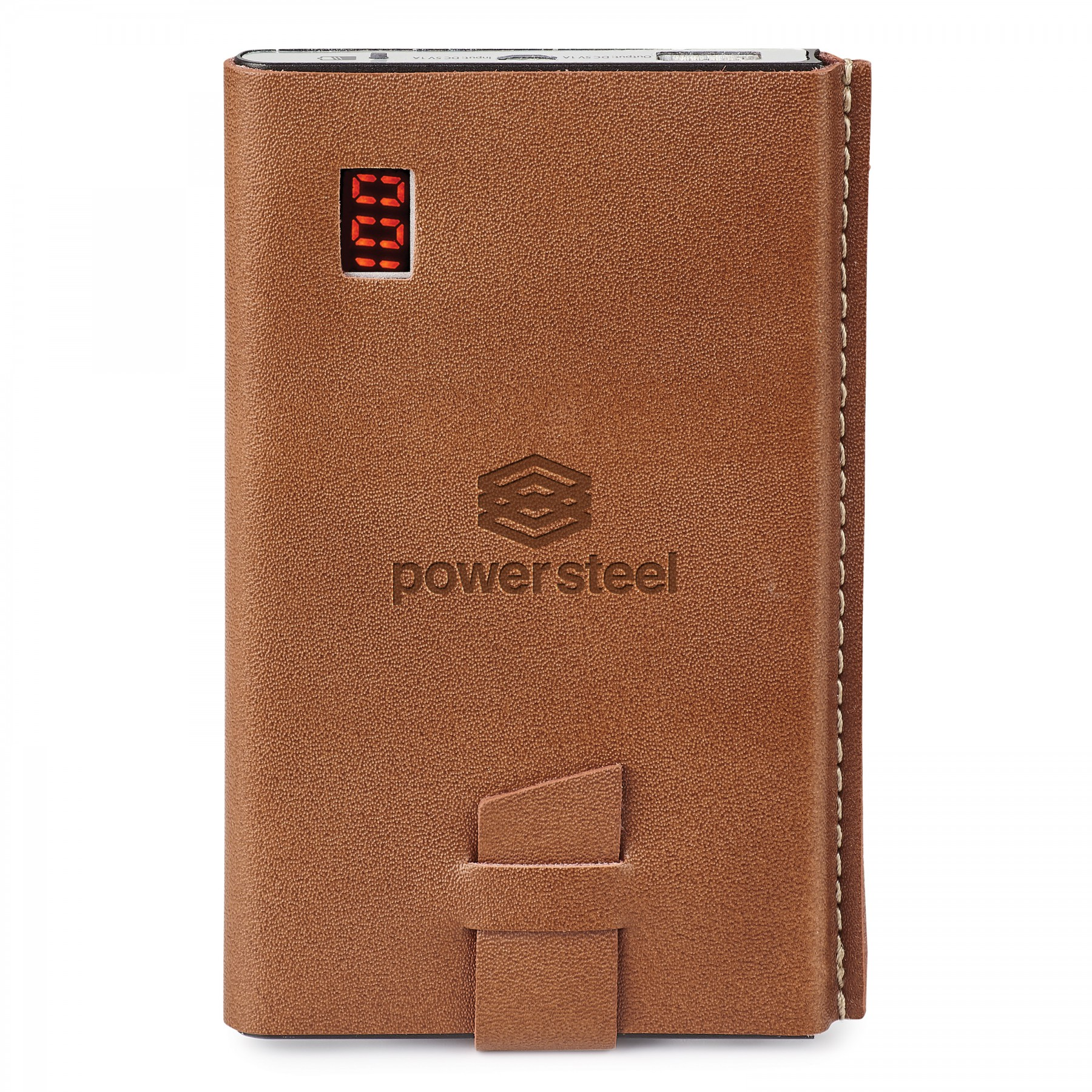 GENUINE LEATHER 4,000 mAh UL CERTIFIED POWER BANK, T9939, Debossed Logo