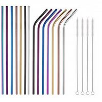 Single Stainless steel straw - Bent (6mm) - COLORED