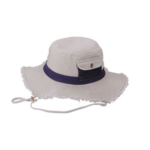 2b7087686bdf36 Promotional Product - Cotton Twill Washed Bucket Hat w/ Frayed Brim & Self  Fabric Chin Cord