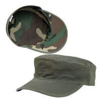 Cotton Twill Washed Army Cap w/ Camo Lining
