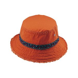 19ef6afb165301 Cotton Twill Washed Bucket Hat w/ Frayed Brim & Jacquard Band - 7863A -  IdeaStage Promotional Products