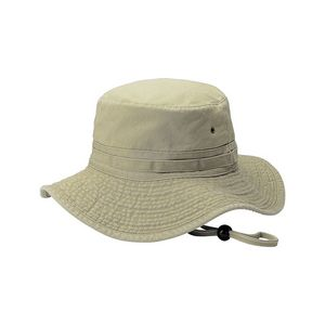 Roll-Up Pigment Dyed Twill Washed Bucket Hat w/ Self Fabric Chin Cord