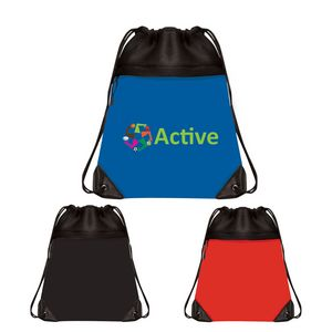 2eec151529 Mesh Drawstring Bag with Micro Fiber Front Zipper Pocket - DS21709 -  IdeaStage Promotional Products