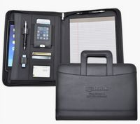 Zippered Letter Size Business Case/Organizer, Retractable Handle, Black soft simulated leather.