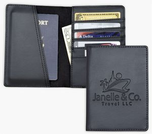5d9bbc6cdfa5 Compact size Passport Holder, Travel Organizer Wallet, Black soft simulated  leather.