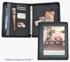 1 Ring Binder Folder Portfolio Zippered Closure Full Color Paper Insert