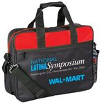 Custom Color Accent Polyester Briefcase W/Side Mesh Pocket