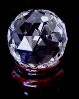 Optic Crystal Gem-Cut Paperweight w/ Wood Base