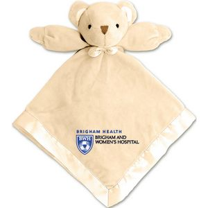 Baby Blanket W Attached Teddy Bear Beige 5k Embroidery