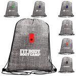 Gray Denim Drawstring Backpack
