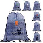 Custom Blue Denim Drawstring Backpack
