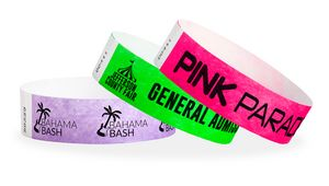 ¾ Tyvek Custom Solid Color Wristbands with Black Imprint