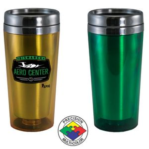 15 Oz. Translucent Green Acrylic Tumbler w/ Stainless Steel Liner & Lid (Screen Print)