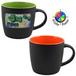 Custom 12 Oz. Two-Tone Euro Cafe Mug - 4 Color Process (Black/Orange)